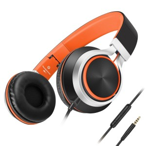Headphones,AILIHEN C8 Lightweight Foldable Headphone with Microphone Volume Control for iPhone,iPad,iPod,Android Smartphones,PC,Laptop,Mac,Tablet,Headset (Black/Orange)