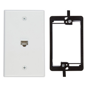 Buyer's Point 1 Port Cat6 Wall Plate, Female-Female White with Single Gang Low Voltage Mounting Bracket Device (1 Port)
