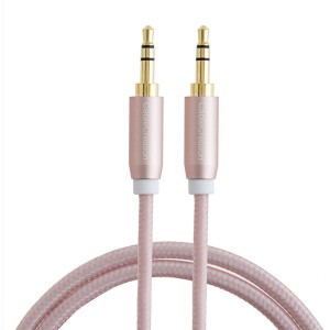 CableCreation 3.3-Feet 3.5mm Braided audio cable, Male to Male Stereo Aux Cable with Premium Metal, for Smartphones, Tablets and MP3 Player, Rose Gold Color