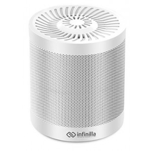 Portable Wireless Bluetooth Speaker, Infinilla 4.0 Enhanced Bass Stereo Speakers for Home and Outdoor, Built-in Microphone, FM Radio, 12 Hours Playtime (White)