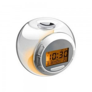 ORIENT HORIZON Natural Sound Alarm Clock 7 Color Changing Light LED Screen 3AAA Battery Powered Small Music Alarm