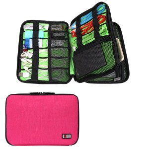 BUBM Universal Double Layer Travel Gear Organizer / Electronics Accessories Bag / Battery Charger Case (Medium, Rose Red)