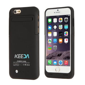"""iPhone 6 Battery Case, KEEDA For iPhone 6 4.7"""" 3500mAh External Battery Case Charger Portable Charger Battery Back Up Power Bank Rechargeable Power Case with Stand - Black"""