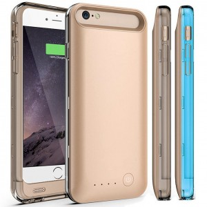 iPhone 6S Plus Battery Case, iPhone 6 Plus Battery Case,MFI Certified KINGCOO Apple iPhone 6 Plus 5.5 Inch External Battery Case Charger Lightning Connector - Gold/Blue