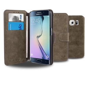 Galaxy S6 Edge Case, SAVFY [Retro Style-Brown] - [Card Slot] [Flip] [Slim Fit] [Wallet] - For Samsung Galaxy S6 Edge SM-G925 Devices