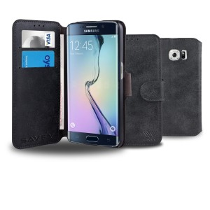 Galaxy S6 Edge Case, SAVFY [Retro Style-Black] - [Card Slot] [Flip] [Slim Fit] [Wallet] - For Samsung Galaxy S6 Edge SM-G925 Devices