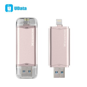 Xcomm iPhone USB Flash Drive 32GB with Lightning Connector and USB 3.0 For iPhones, iPads and Computers [Lifetime Warranty]-(Rose Gold/32GB)