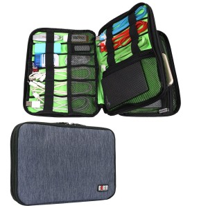 BUBM Universal Double Layer Travel Gear Organizer / Electronics Accessories Bag / Battery Charger Case (Medium, Dark Blue)