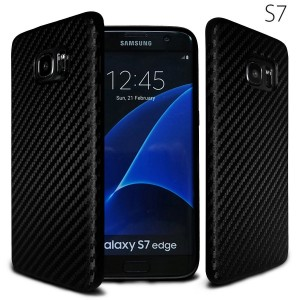 Galaxy s7 Carbon fiber case, NeWisdom special designed Soft Rubberized Carbon Case for Samsung galaxy s 7 [No need to be removed while wireless charging] (Black)
