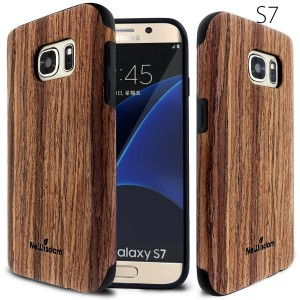 Galaxy S7 Wood Case, NeWisdom [Slim Fit] Natural Wood Layer over Premuim Rubber Protective Case for Samsung galaxy s7,[Perfect Matching with s7 fast wireless charging] - Sandalwood