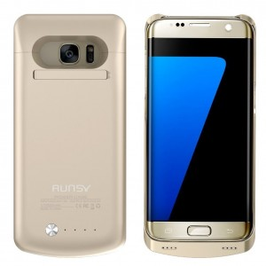 RUNSY S7 Edge Battery Case, 5200mAh Rechargeable Extended Battery Charging Case for Samsung Galaxy S7 Edge, External Battery Charger Case, Backup Power Bank Case with Kickstand (Gold)