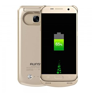 RUNSY S7 Battery Case, 4500mAh Rechargeable Extended Battery Charging Case for Samsung Galaxy S7, External Battery Charger Case, Backup Power Bank Case with Kickstand (Gold)