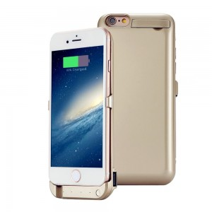 JESWELL 5200mAh High Capacity Battery Case for iPhone 6 6s 4.7 inch, 3-in-1 Power Bank Charging Case with Built-in Kickstand and 1 USB-Port, Lightning Input, Safe Charge (Gold)