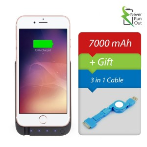 Never Run Out 7000mAh Backup Battery Charger Protective Case for iPhone 6 / 6s Almost 280 % Extra , Fast-charging Power Bank. Light and Slim. (Also Works With iPhone 7/7s But Hides The Camera)