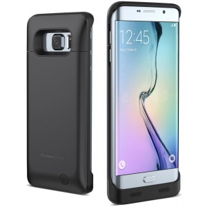 PowerBear Samsung Galaxy S6 Edge Plus Battery Case [4,000 mAh] External Battery Charger for the Galaxy S6 Edge Plus (Up to 1.5X Extra Battery) - Black [24 Month Warranty and Screen Protector Included]