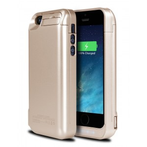 iPhone 5S Battery Case, Ecpow 4200mAh Rechargeable External Battery Case iPhone 5/5S/SE Power Bank Case Battery Pack Portable Charger Charging Case for iPhone 5/5S/SE -Gold