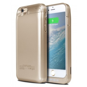 iPhone 6S Plus Battery Case, Ecpow 8200mAh Rechargeable External Battery Case iPhone 6 Plus Power Bank Case Battery Pack Portable Charger Charging Case for iPhone 6 Plus/ 6S Plus 5.5'' -Gold
