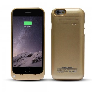 """YHhao for iPhone 6 Charger Case, Portable Battery Bank with Kick Stand for 4.7"""" iPhone 6/6S, Slim Fit Slider Design + Full Body Protection + LED Battery Level Indicator (no cable included) (Gold)"""
