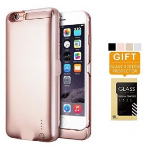 iPhone 6 6s Battery Case LINKPAL 5800mAh Polymer Battery 2.5hrs Fast Recharge Rate battery Charger Charging Case Battery Pack Charger Case , 200% Extra Battery (5800mAh-Rose Gold)