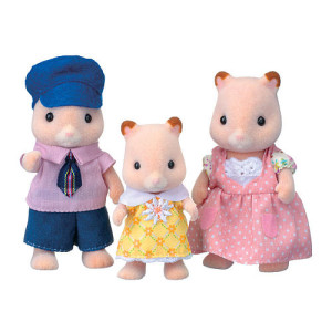 Calico Critters Stuffed Fluffy Hamster Family