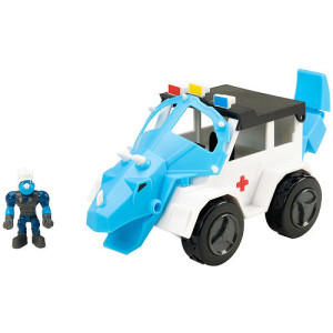 Educational Insights Dino Construction Company Rescue Crew - Turbo The Triceratops Police Suv