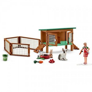 Schleich Farm Life Rabbit Hutch with Rabbits and Feed Playset