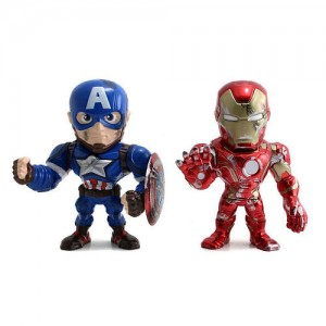 Jada Toys Marvel Civil War Captain America 2 Pack 4 inch Metals Diecast Action Figure - Captain America and Iron Man
