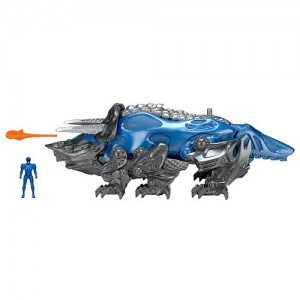 Mighty Morphin Power Rangers Movie Action Figure - Triceratops Battle Zord with Blue Ranger