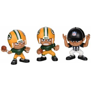 Party Animal Toys Lil' Teammates 3 Figurine Green Bay Packers NFL Team Set (Pack of 3)
