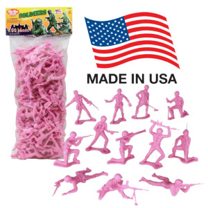 Tim Mee TimMee PLASTIC ARMY MEN: Pink 100pc Toy Soldier Figures - Made in USA