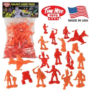 Tim Mee TimMee Galaxy Laser Team SPACE Figures: Red vs Orange 50pc Set - Made in USA