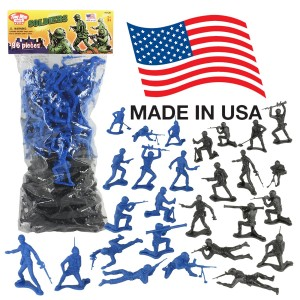 Tim Mee TimMee PLASTIC ARMY MEN: Black vs Blue 96pc Soldier Figures - Made in USA