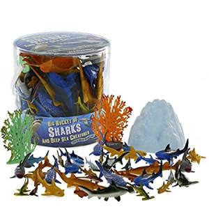 SCS Direct Sharks and Deep Sea Creatures Action Figure Bucket - Huge 41 Piece Set