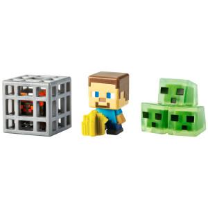 Mattel Minecraft Mini Figure 3-Pack, Farming Steve, Spawning Spider and Slime Cubes