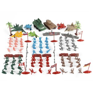 Liberty Imports Army Men Action Figures Soldier Bucket Playset with Scaled Tanks, Planes, Submarines, Flags and More!
