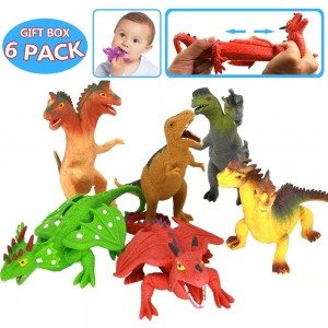 8 Inch Rubber Dinosaur Dragons Toys Set(6 Piece),Great Safety Materials TPR Super Stretchy,With Learning Resources Card,Zoo World Realistic Dinosaur Dragon Figure, For Boys Kids Bathtub Squishy Toys