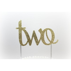 CMS Design Studio Handmade 2nd First Birthday Cake Topper Decoration - two - Made in USA with Double Sided Gold Glitter Stock