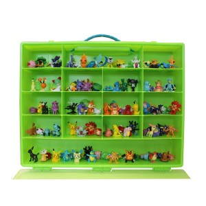 Pokemon TM Compatible Organizer - Perfect Pokemon TM figure Compatible Storage Case - Fits Up Approx 200 Characters, [Sturdy Case And Carrying Handle- Green / Lime] - Not with any figure