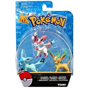 Official Packaged Pokemon Eevee Eeveelutions 3 Pcs. Exclusive Figure Set Includes: Sylveon , Glaceon and Leafeon by Hot Topic