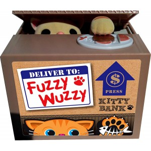 Leading Edge Novelty Fuzzy Wuzzy Kitty Mechanical Bank - Yellow