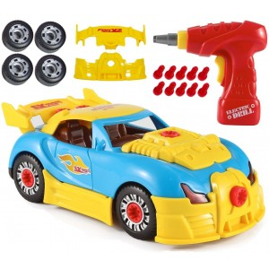 CoolToys Custom Take-A-Part Sports Car Set – Includes Electric Drill and Car Parts with Lights and Sounds (30 Pieces)