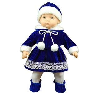 """The Queen's Treasures 15"""" Complete Doll Clothes for American Girl Bitty Baby Bitty Twins, Blue Velvet Dress, Hat, Tights, Shoes. Packaged in Reusable Garment Bag and Plastic Hanger"""