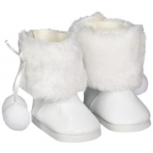 Unique Doll Clothing White Fur Pom Pom Boots for American Girl Dolls and Most 18""