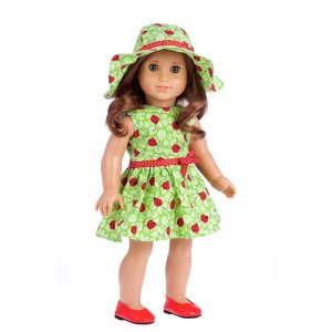 DreamWorld Collections Ladybug -3 piece outfit - Summer Dress, Hat and Red Shoes - 18 inch doll clothes (doll not included)