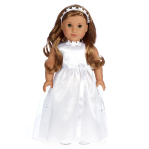 My First Communion - White Satin Communion / Wedding Dress with Matching Headband and White Leather Dress Shoes - 18 inch Doll Clothes (doll not included)