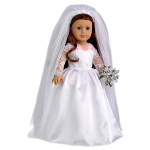 DreamWorld Collections Princess Kate Royal Wedding Dress with White Leather Shoes and Tulle Veil - 18 inch doll clothes (doll not included)
