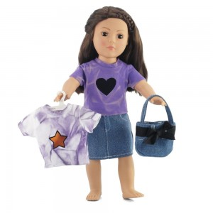 """Emily Rose Doll Clothes Fits American Girl Dolls 18"""" Denim Skirt Outfit - 18 Inch Doll Clothes/clothing"""