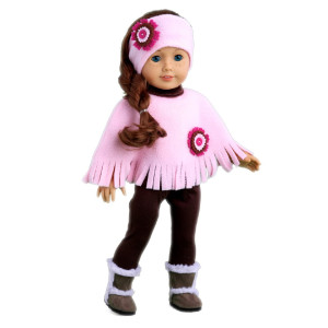 Pink Poncho - 4 piece outfit - Pink fleece poncho, matching headband, brown leggings and brown sherpa boots - 18 inch doll clothes (doll not included)