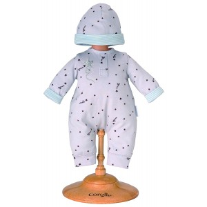 "Corolle 14"" Grey Star Baby Doll Pajamas and Cap"