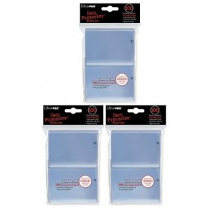 (300) Ultra Pro New Standard Size(66mm x 91mm) Clear Deck Protectors Sleeves! 3 Factory Sealed 100ct Packs (#82689) with Ultra Pro's Hologram Quality Seal of Durability! Stores and Protects Standard Size Gaming Cards including Magic the Gathering and Poke
